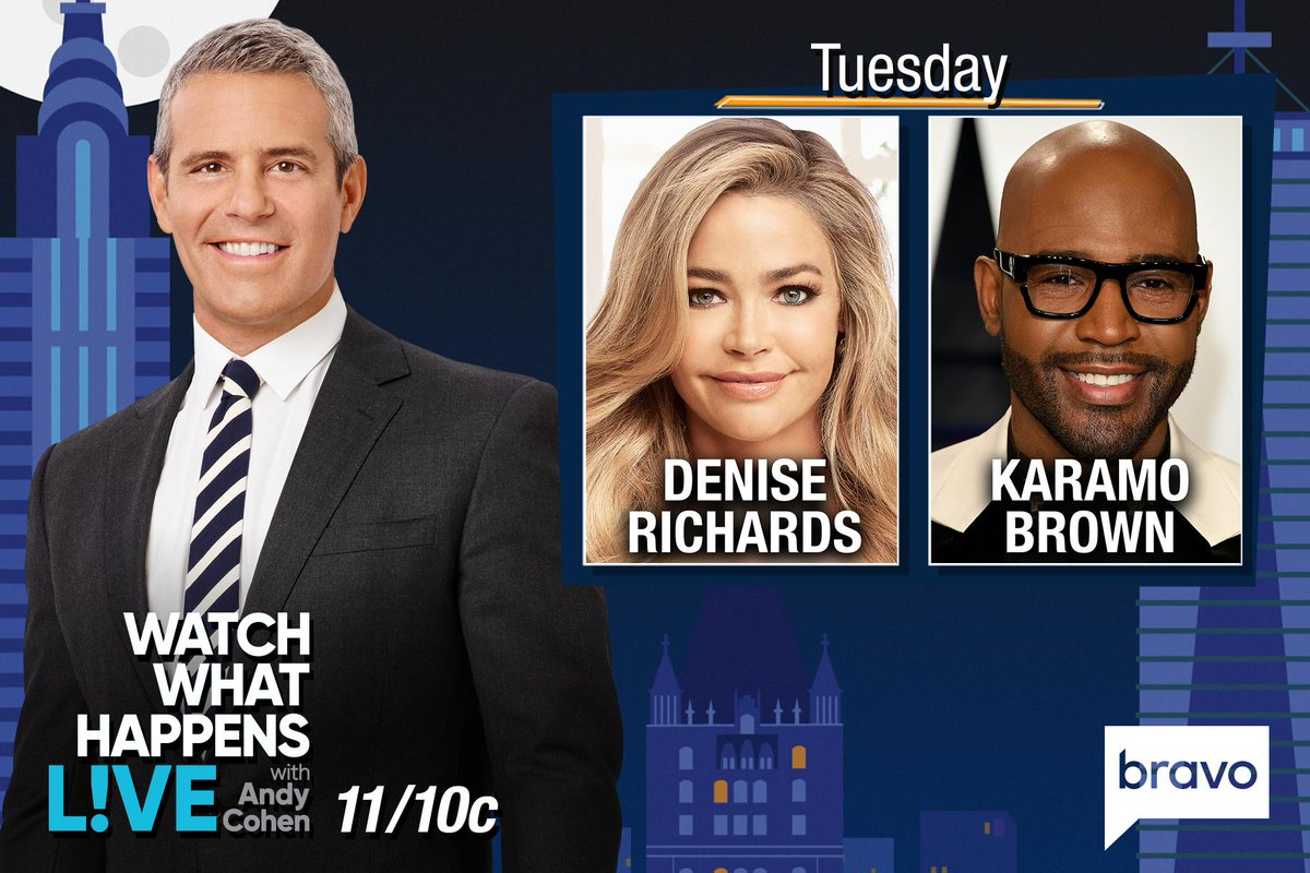 RT @BravoWWHL: TONIGHT at 11/10c we're LIVE w/ @DENISE_RICHARDS & @KaramoBrown! Start tweeting @Andy your questions! https://t.co/AdIPFNqooQ