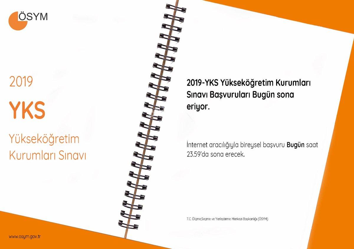 RT @OSYMbaskanligi: 2019-YKS Yükseköğretim Kurumları Sınavı Adaylarımızın Dikkatine! https://t.co/8AHCxbpFap