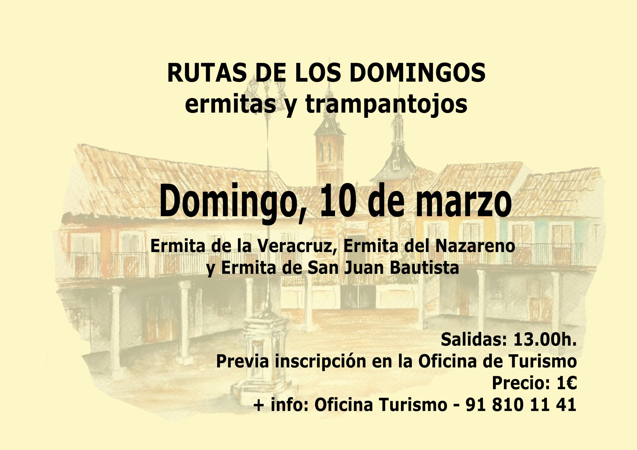Si quieres realizar una visita guiada por las ermitas  de la Veracruz, el Nazareno y San Juan Bautista, puedes hacerlo este domingo. Inscripciones, 1€, en la Oficina de Turismo. https://t.co/ZfEKImrqtD
