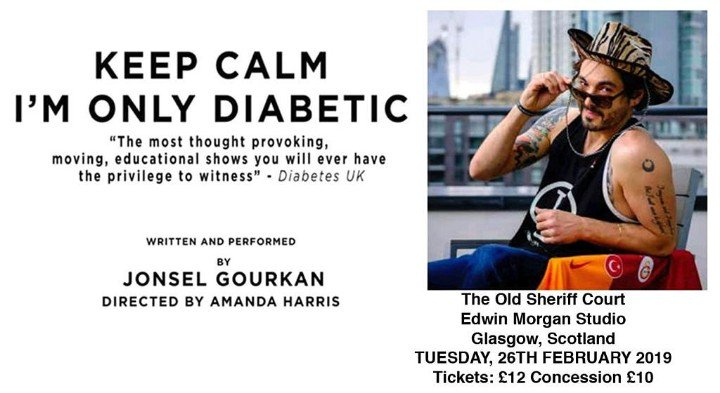 test Twitter Media - https://t.co/Sbuy0IgF8t This Type 1 is headed to Glasgow on Tues Feb 26th and he is bringing his one man show #keepcalmimonlydiabetic to the Edwin Morgan Studio theatre. For ticket/show info please go to https://t.co/bkaGvde18C ⚽💉 #gbdoc #doc #scotland #glasgow #theatre #type1 https://t.co/d2IcRpl1Rs
