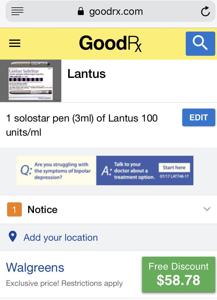 test Twitter Media - @siouxperjen Not ideal but you can get a pen of Lantus with a goodrxcoupon for 58 Dls https://t.co/ZUvdDTPkhc