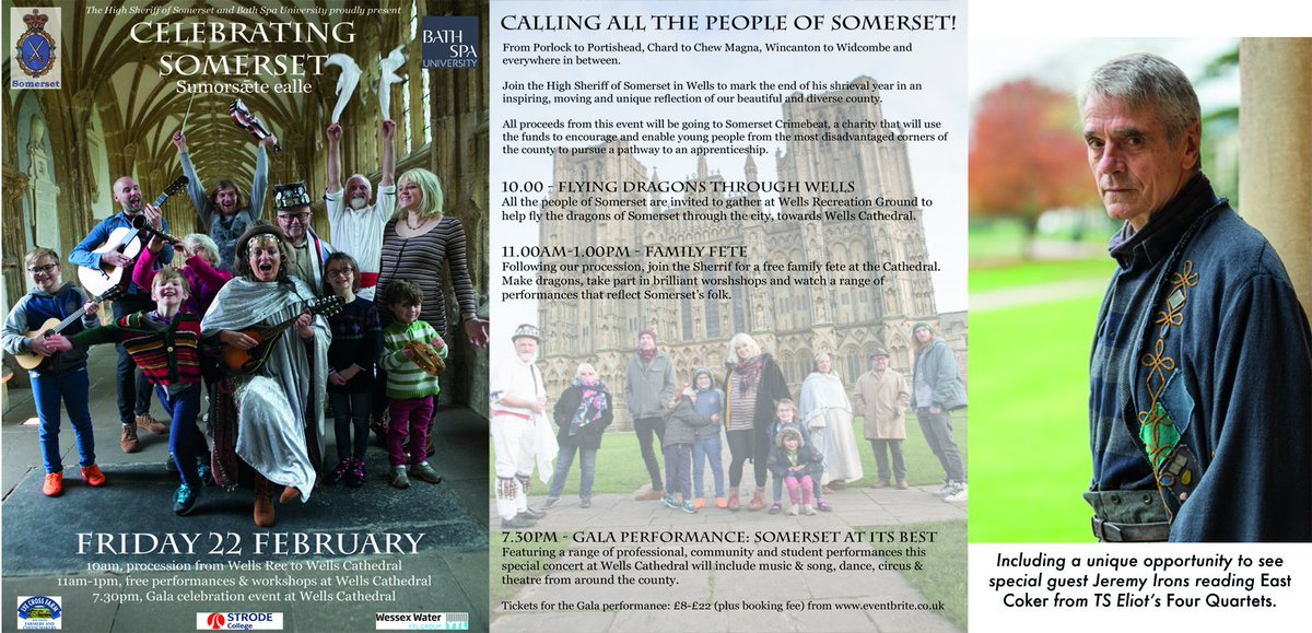 Fantastic #community event running today in Wells celebrating the ancient heritage of #Somerset county. There's still time to grab your ticket for tonight's #gala - available here: https://t.co/9cZKlBkI5e #ThinkLocal #Heritage #fete #JeremyIrons @WellsCathedral1 @SomersetCelebr1 https://t.co/kmWRzFXbwZ