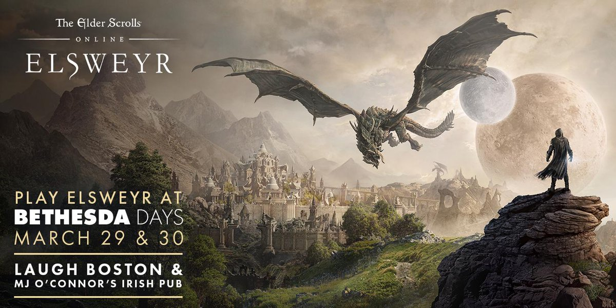 test Twitter Media - Will we see you at our next #BethesdaDays event? Join the ESO team on March 29th and 30th at Laugh Boston & MJ O'Connors.   Play Elsweyr for the first time, win swag, and meet other members of the community! No #PAXEast badge necessary. https://t.co/baLB27mNcF