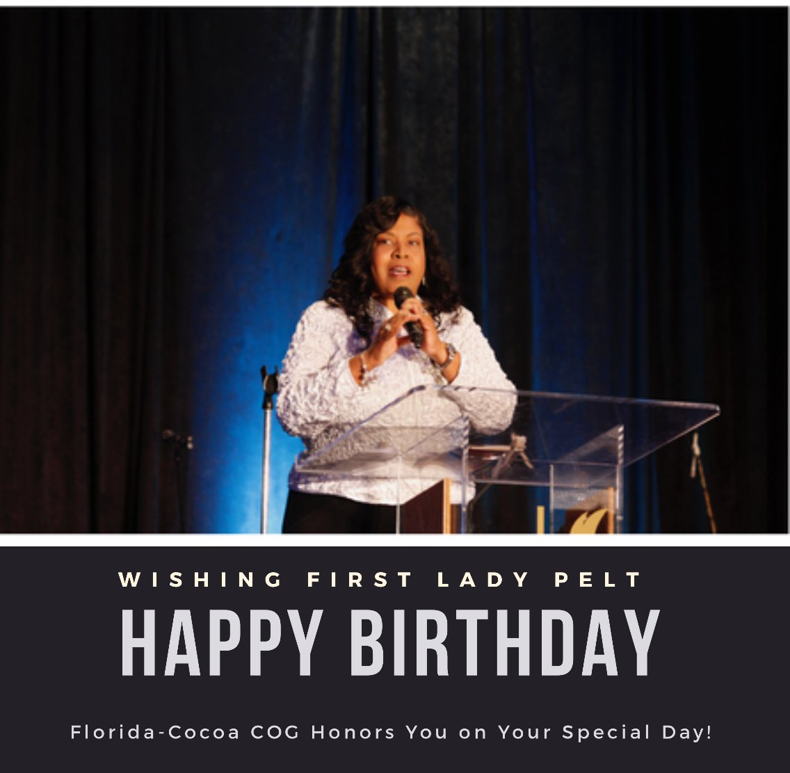 test Twitter Media - Happy Birthday Lady Pelt!!! Florida-Cocoa celebrates and thanks God for you being in our lives and leading alongside Bishop Pelt. #HappyBirthday #Babydoll #CocoaStrong #FirstLady #ChurchOfGod https://t.co/8XXUSeSjMY