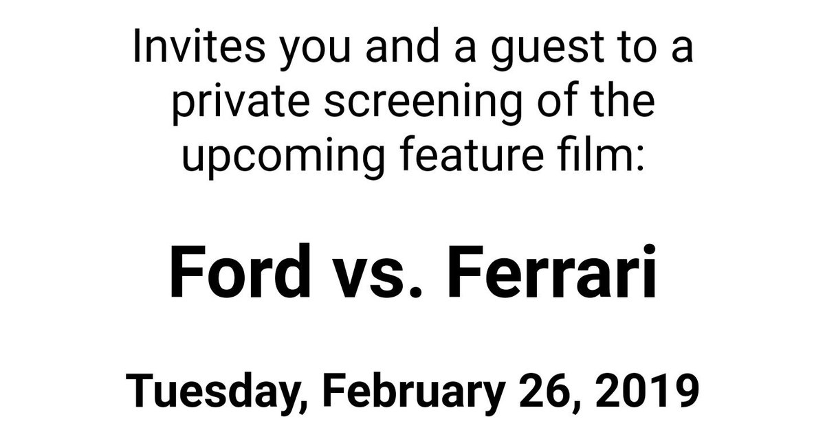 test Twitter Media - This was a nice invitation today. I'm so looking forward to this! #ChristianBale #MattDamon #JonBernthal #FordvsFerrari https://t.co/ZvWHX07kxe