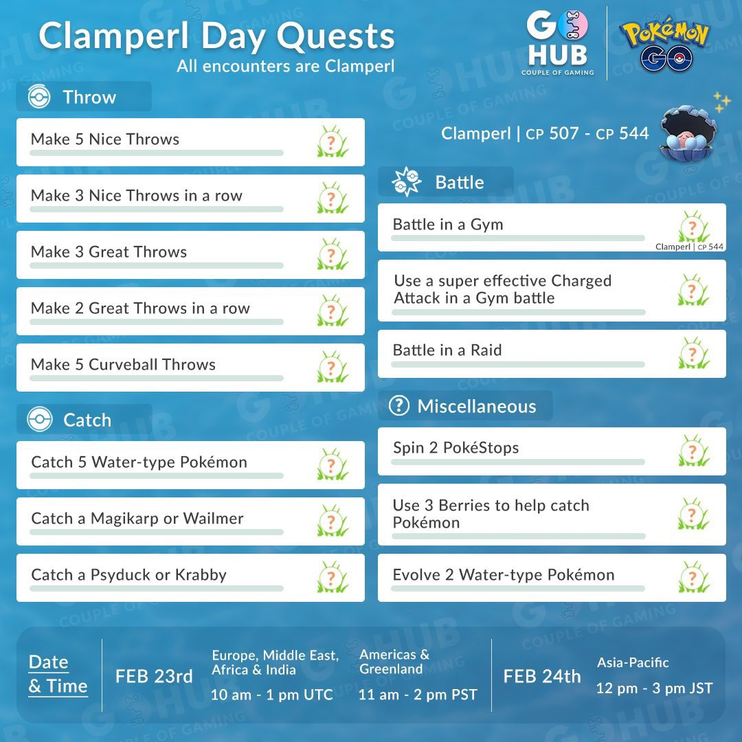 test Twitter Media - News: Shiny Clamperl✨ was indeed released during the special research day, America's you have advance notice! Below you can also find a list of field research and their rewards prepared by @coupleofgaming. Happy hunting today trainers! #PokemonGO https://t.co/bd33v3bdQP