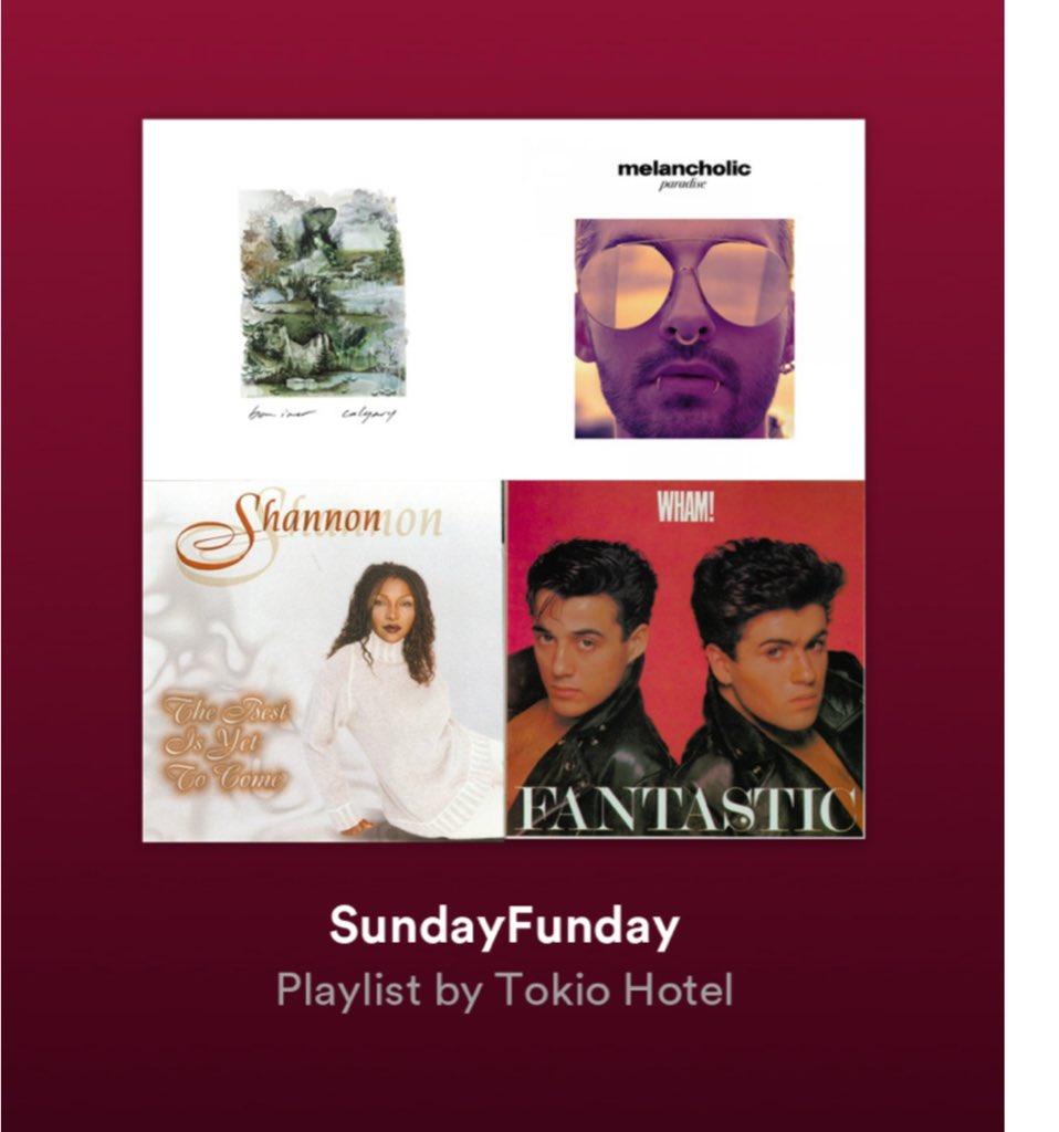 My new favorite playlist on @spotify ????????????????????????#sundayfunday #tokiohotel https://t.co/GgehALohbf
