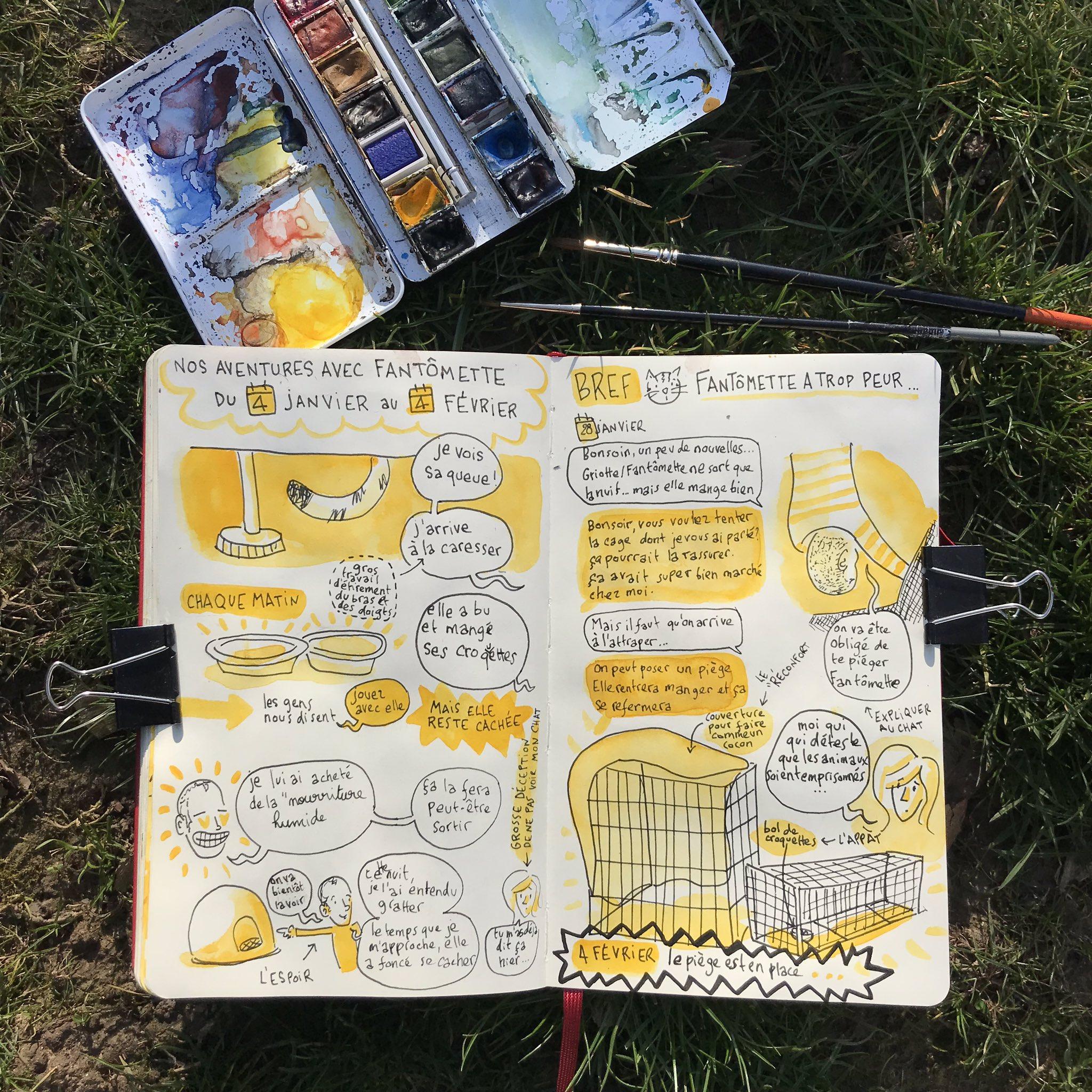 Quand tu adoptes un petit #chat 😻 (épisode 9)  😍joie de dessiner DEHORS 😍  😘 @VVisine @NaCrosnier @EthelDrey @loreleymac @JordanePlvln   #sketchbook #cat #aquarelle #watercolor #carnetdevoyage #kitty #kitten #catlover #design #fantomette https://t.co/rHxx1Xqe80