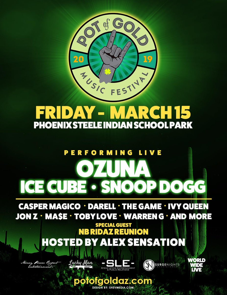 Blazin' with the homie @SnoopDogg in Phoenix on March 15th for @PotOfGoldAZ. Tickets: https://t.co/9wUqdCyPQu https://t.co/7V7V1uptqn