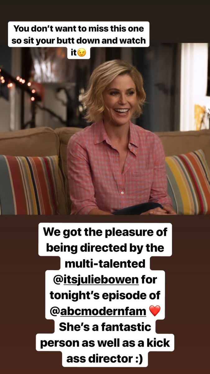 Like I said...sit your butts down and watch it tonight :) @ModernFam directed by the multi-talented @itsJulieBowen ???? https://t.co/LQ3wwDIpTG