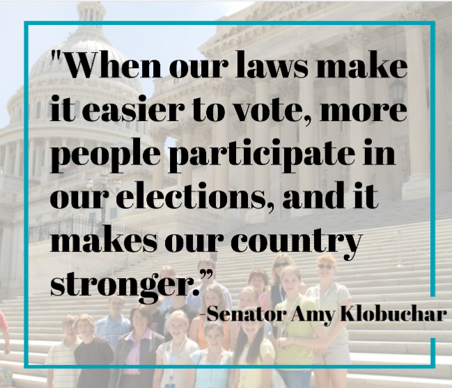 Sen Klobuchar just introduced the #RegisterAmericaToVote Act to automatically register all eligible citizens to vote when they turn 18. Everyone should be able to make their voice heard at the ballot box. https://t.co/Ud7Uglw7yv