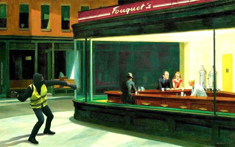 Emmanuel Macron et un #GiletsJaunes se sont invités dans le bar rebaptisé Fouquet's dans le tableau Nighthawks (1942, exposé à l'Art Institute de Chicago) d'Edward Hopper (1882-1967) remarque le site Moustique (Belgique) https://t.co/a8LvjYzDvU