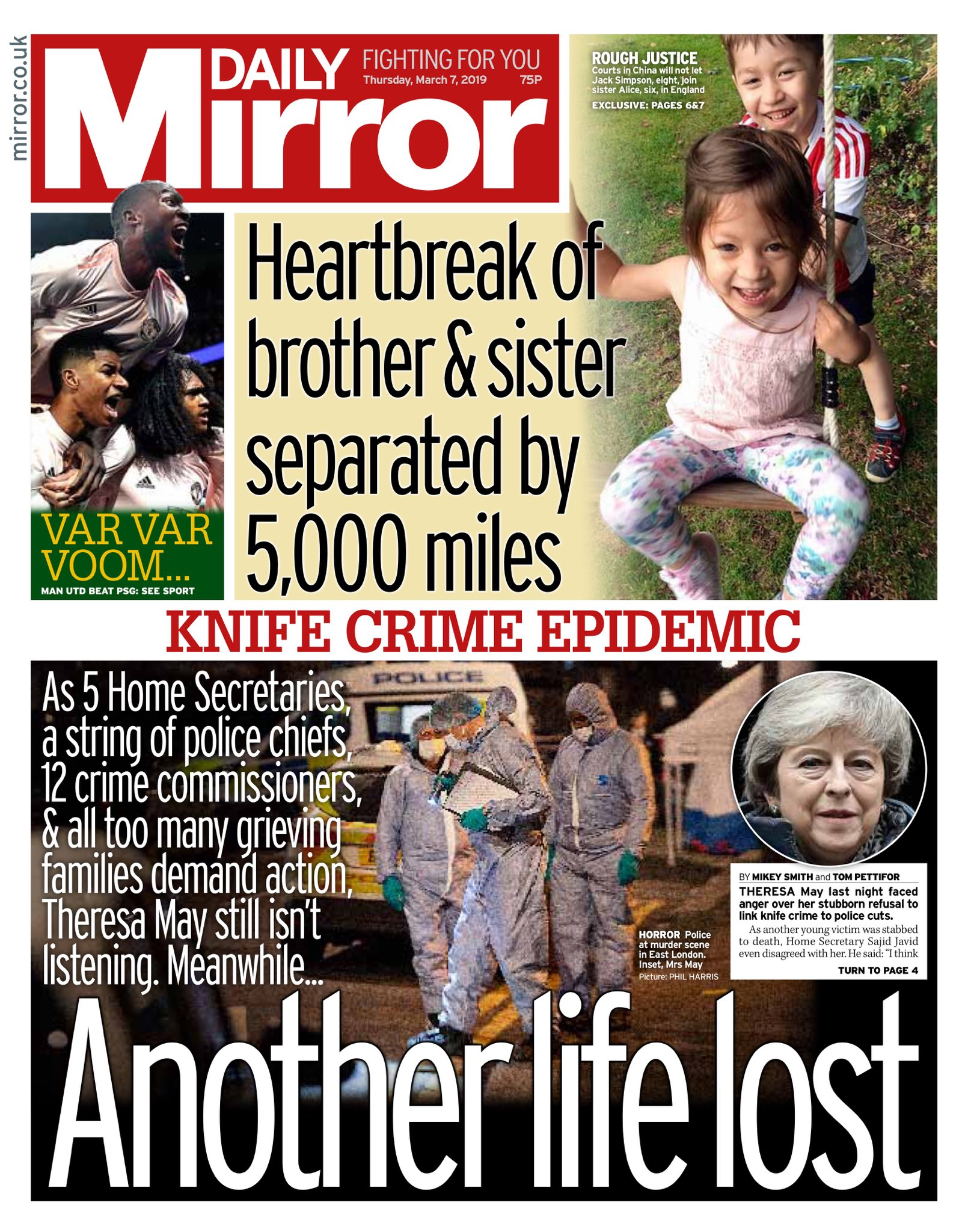 """Thursday's Daily MIRROR: """"Another life lost"""" #bbcpapers #tomorrowspaperstoday https://t.co/0IFTmCoS2M"""