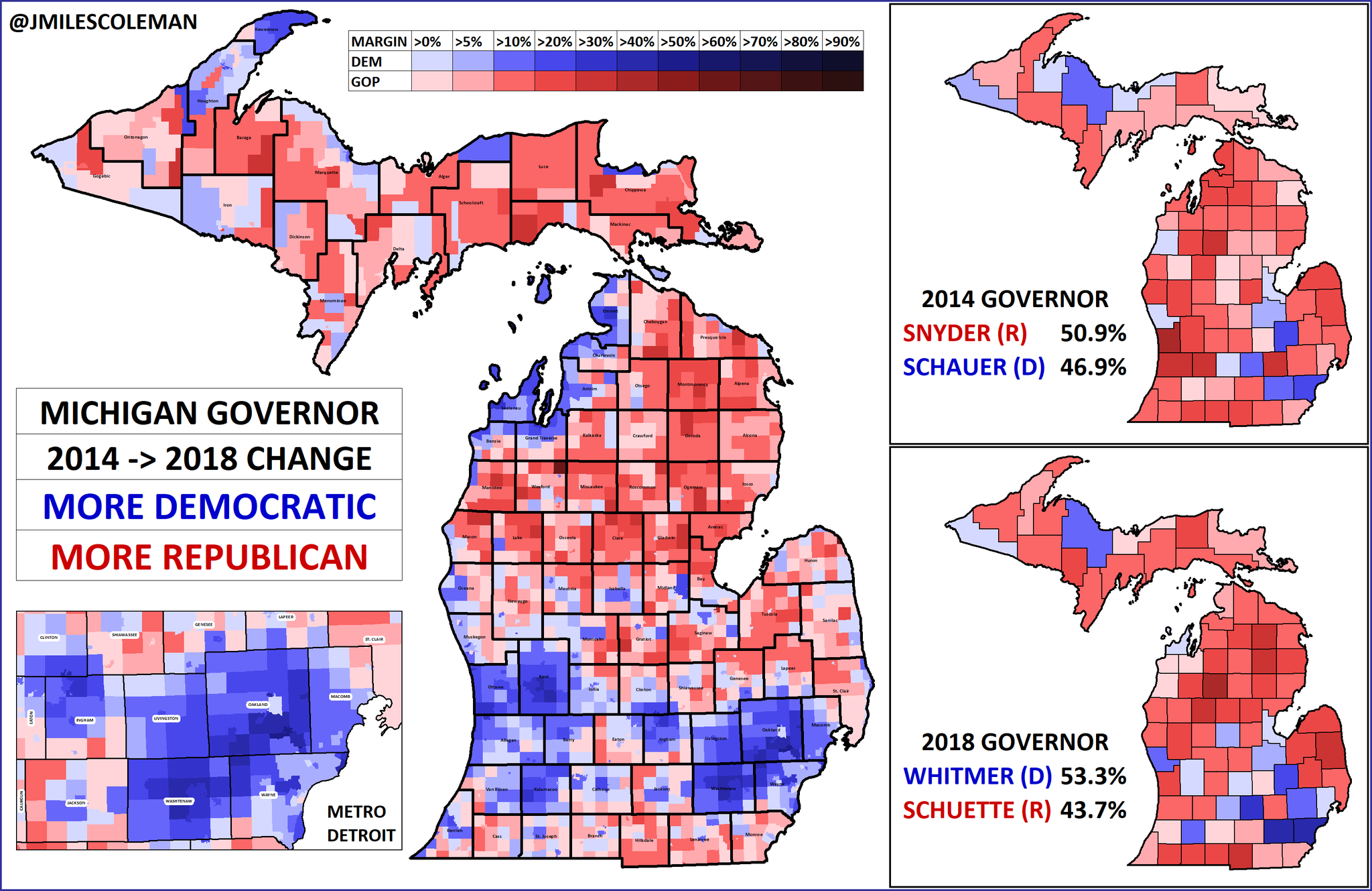 Last year, Democrats flipped the Michigan Governorship with @gretchenwhitmer. She was elected by nearly 10%, after Gov. Rick Snyder (R) won by 4% in 2014. Her win was powered by gains in southeastern & western metros, while the north mostly moved the other way. #migov #mipol https://t.co/CGIik8wl4r