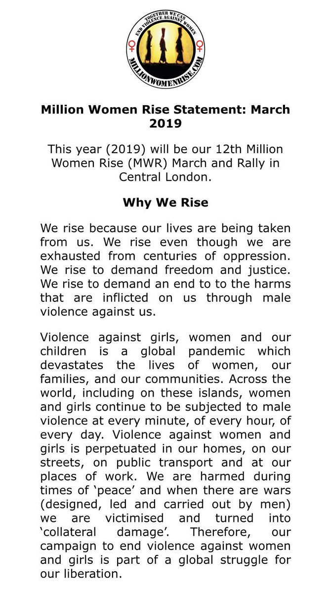 RT @MillionWomen: Million Women Rise Statement 2019 #MWR2019 #WhyWeRise #NeverForgotten #InternationalWomansDay https://t.co/yWQ58RikeI