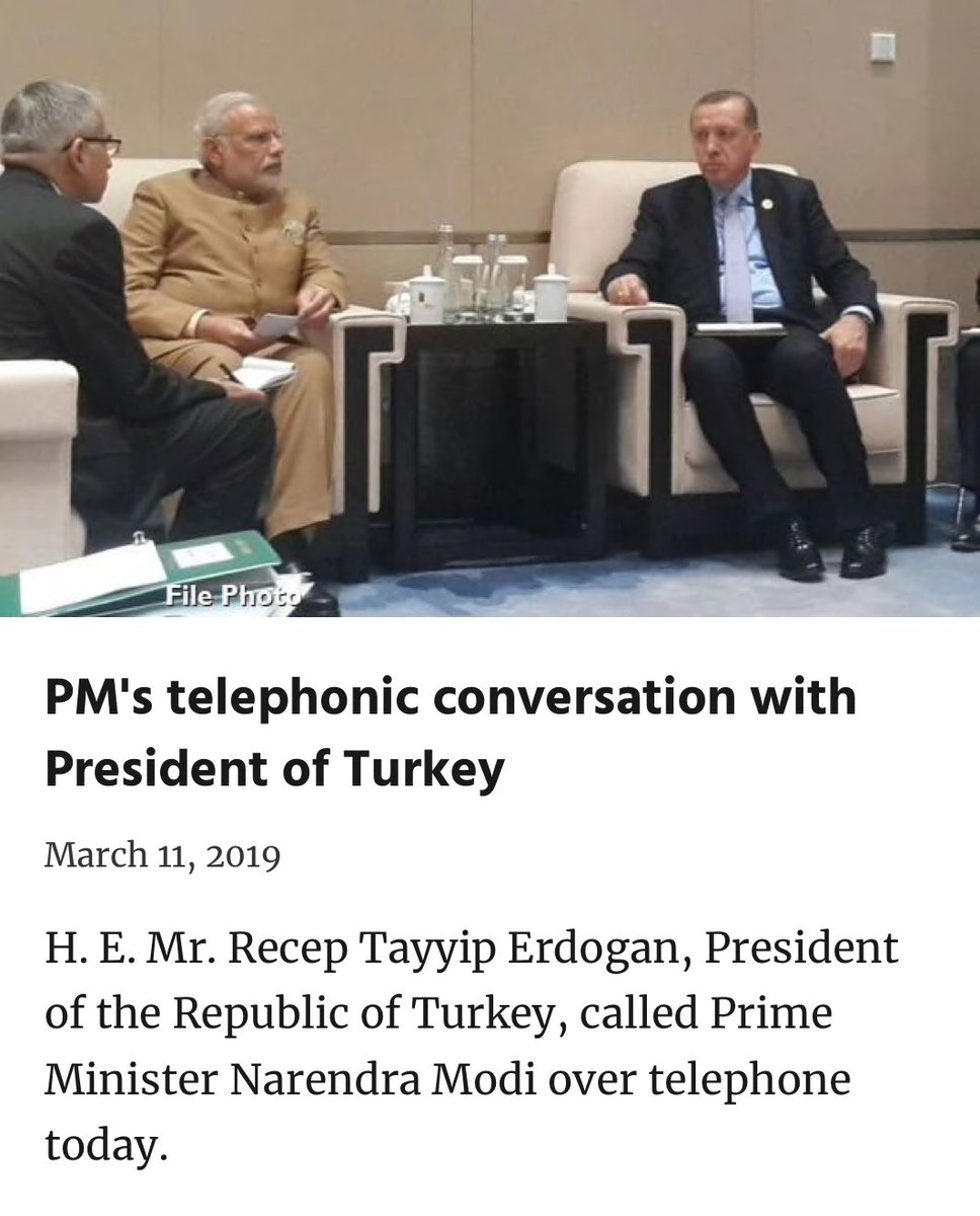 PM @narendramodi's telephonic conversation with the President of Turkey @RT_Erdogan.   https://t.co/VTuFtskZgg https://t.co/8hWShHly9W
