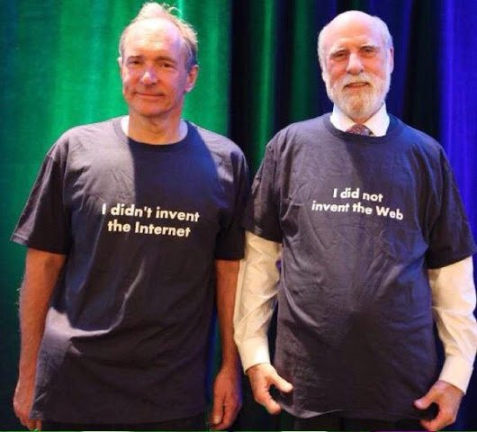 I love these two for making a funny to help people remember the difference.  Remember:  @vgcerf = Internet, ~1969. @timberners_lee = WWW, ~1989. Both of them: awesome, always.  #Web30 #ForTheWeb https://t.co/J16sfq349B