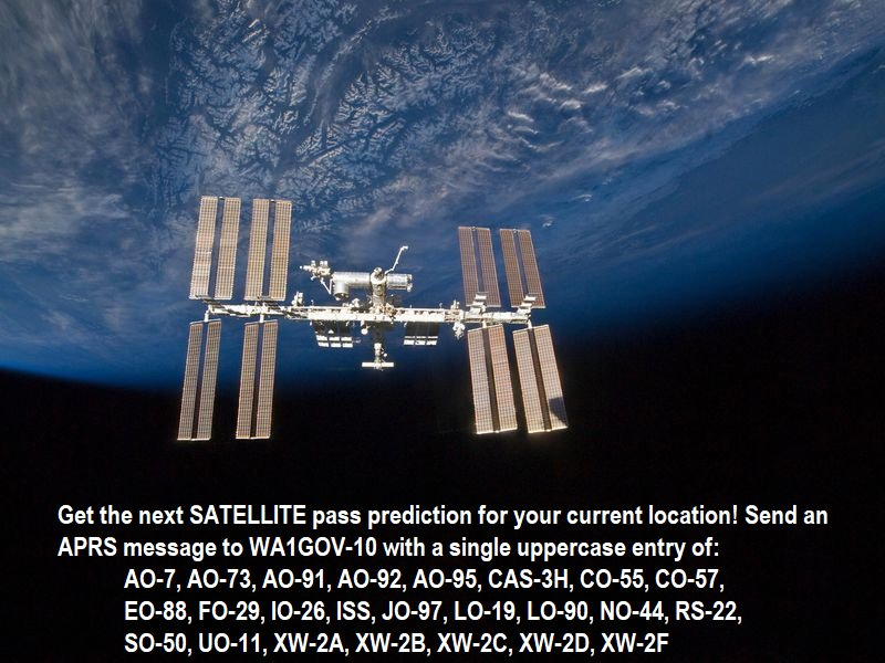 Get the next SATELLITE pass prediction for your current location! Send an APRS message to WA1GOV-10 with a single uppercase entry of: ISS AO-91 AO-92 SO-50 ... and more below! ... #APRS #amsat #hamradio #hamr https://t.co/51Zfa2yA50