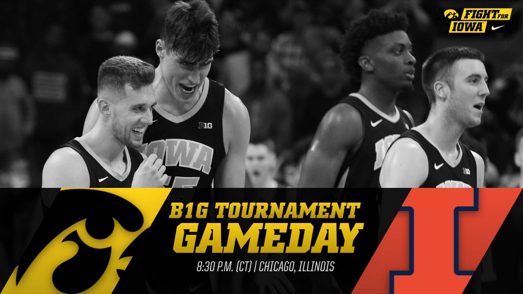HAWKEYE GAMEDAY!! vs. Illinois    ⏰: 8:30 pm (CT)  📍: Chicago 📱:  📊:  📻:   #Hawkeyes #FightForIowa #B1GTourney