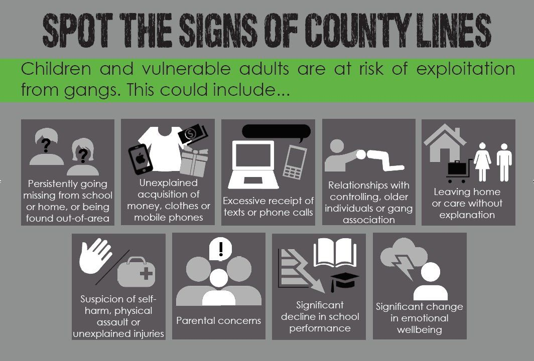 Do you know how to #spotthesigns of #countylines? If you have a concern that someone you know is being #exploited and is trapped, or you're worried about your own situation, call @MSHelpline on 08000 121 700. Available 24/7 to help. @NCA_UK https://t.co/zSkzYHBEFp