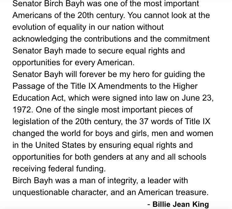Rest In Peace, Senator Bayh. #TitleIX https://t.co/uK0XLx7y2N