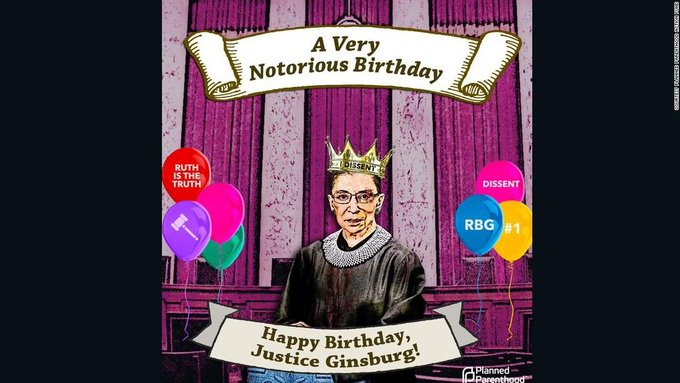 Happy birthday to Ruth Bader Ginsburg!!