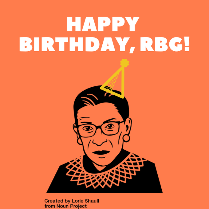 Supreme Court Justice Ruth Bader Ginsburg is 86 years young today. Happy birthday, Justice Ginsburg!