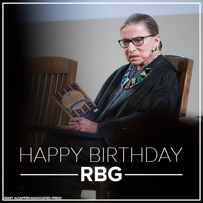 Happy Birthday to Ruth Bader Ginsburg! Ginsburg was appointed to the SCOTUS back in 1993 when she was 60 years old!
