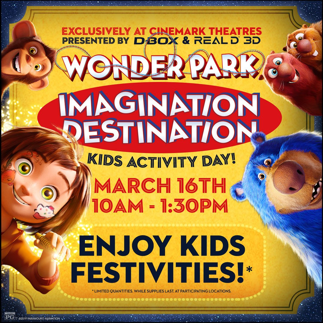 test Twitter Media - Tomorrow, join us from 10am-1:30pm for #WonderPark Imagination Destination! @ParamountPics, @Cinemark, #DBOX and @RealD invite you to enjoy special activities before you experience @wonderparkmovie at select Cinemark theatres.  Buy your tickets today: https://t.co/diIxbTtfiE https://t.co/joPs8DepJi