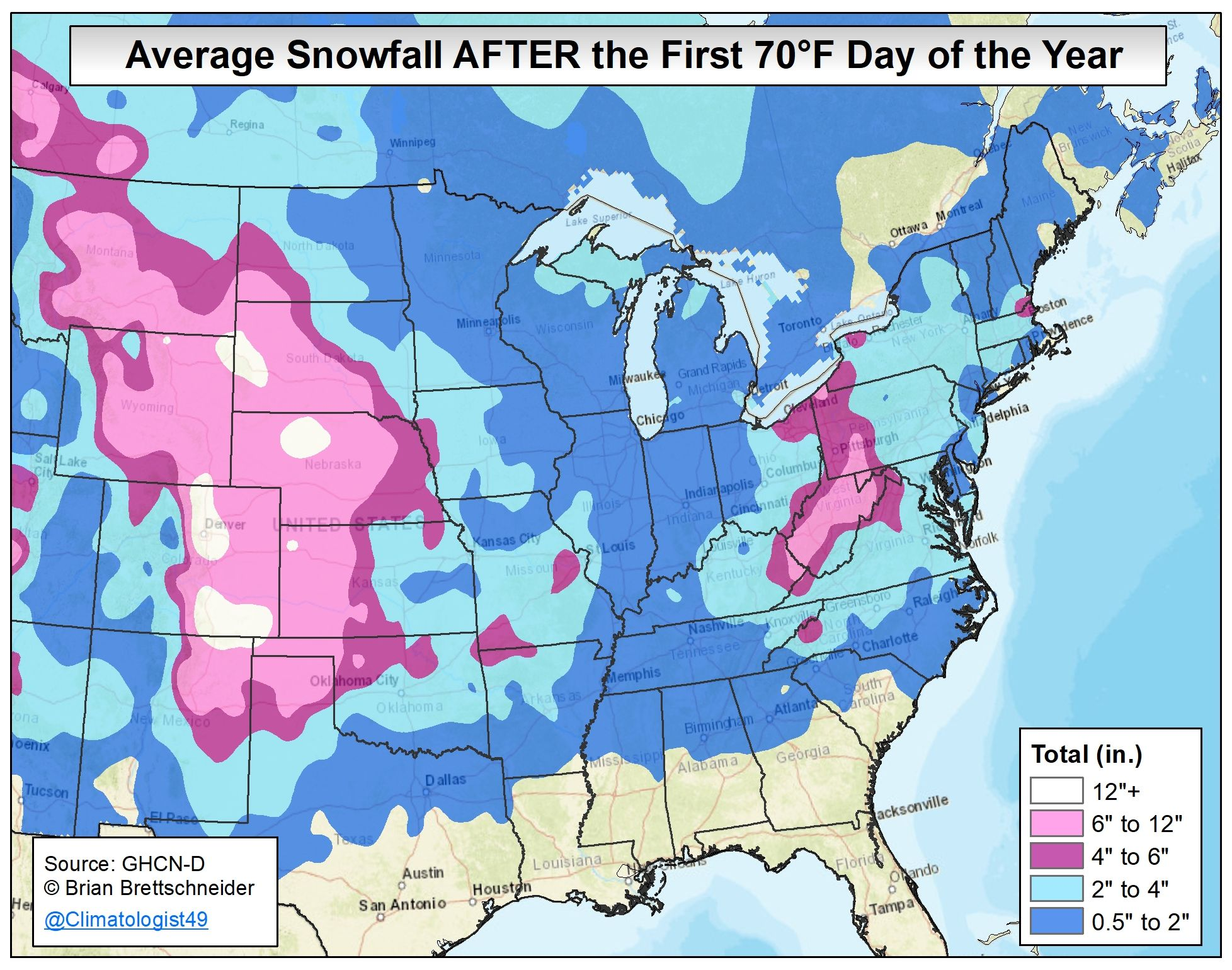 Updated map showing the average snowfall AFTER recording the first 70°F day of the year using all available stations (n=3,094; 1981-2018). @wxjay https://t.co/Lijg2sWTJ2