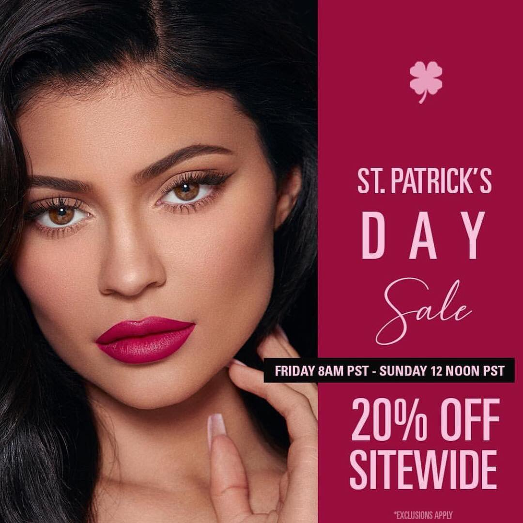 RT @kyliecosmetics: Shop our 20% off St. Patrick's Day sale NOW! https://t.co/rkT2b8JJL5 https://t.co/m8TYpO9qp7