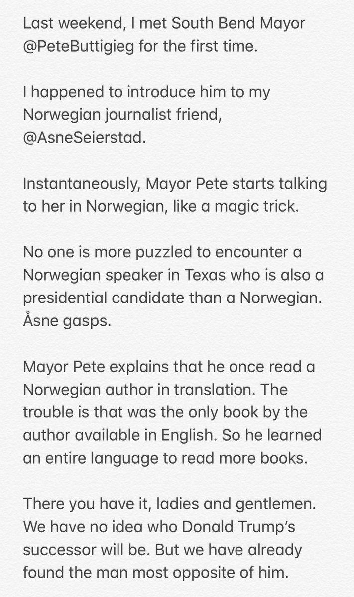 RT @AnandWrites: A true story about @PeteButtigieg. https://t.co/ojFXa8IguU