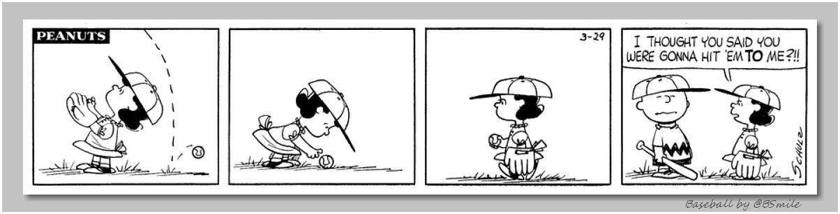 """""""I thought you said you were gonna hit 'em to me?!!"""" ~ Lucy van Pelt (Classic Peanuts - March 29, 1961) #MLB #Baseball https://t.co/TDHCoUGYvK"""