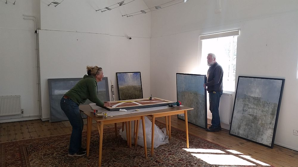 Image for @LoissHopwood and Tony of @castlehillpots are in to hang the forthcoming exhibition, 'Landscapes'. This will be open to the public on Good Friday 19th April. #art #exhibition #gallery #RealMidWales #discover #Bleddfa #Powys https://t.co/a2gCMmlxgm