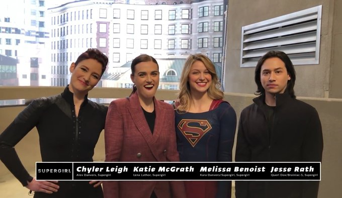 Katie mcgrath wishing batman a happy birthday with melissa benoist, chyler leigh and jesse rath
