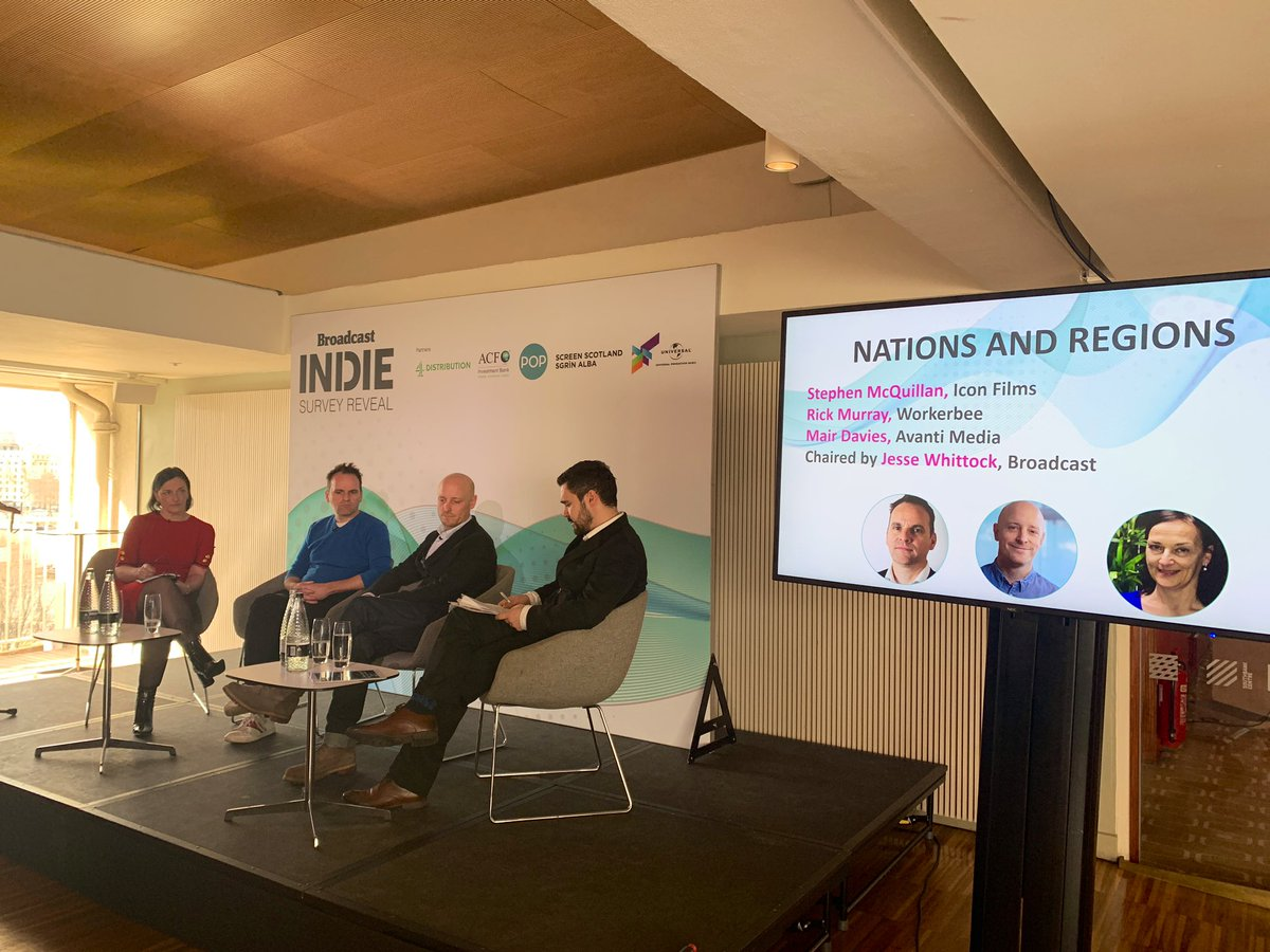 Our final panel for today's #IndieSurvey Reveal discusses Nations & Regions with @iconbristol's Stephen McQuillan, @ricmurray & @avantitv's Mair Davies, chaired by @WhittockTweets https://t.co/GoPxjlb2zD