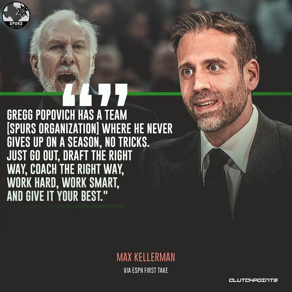 RT @SpursNationCP: Max Kellerman speaks facts about Coach Popovich and our team. 💯 #Spurs https://t.co/CILDTOZFFc