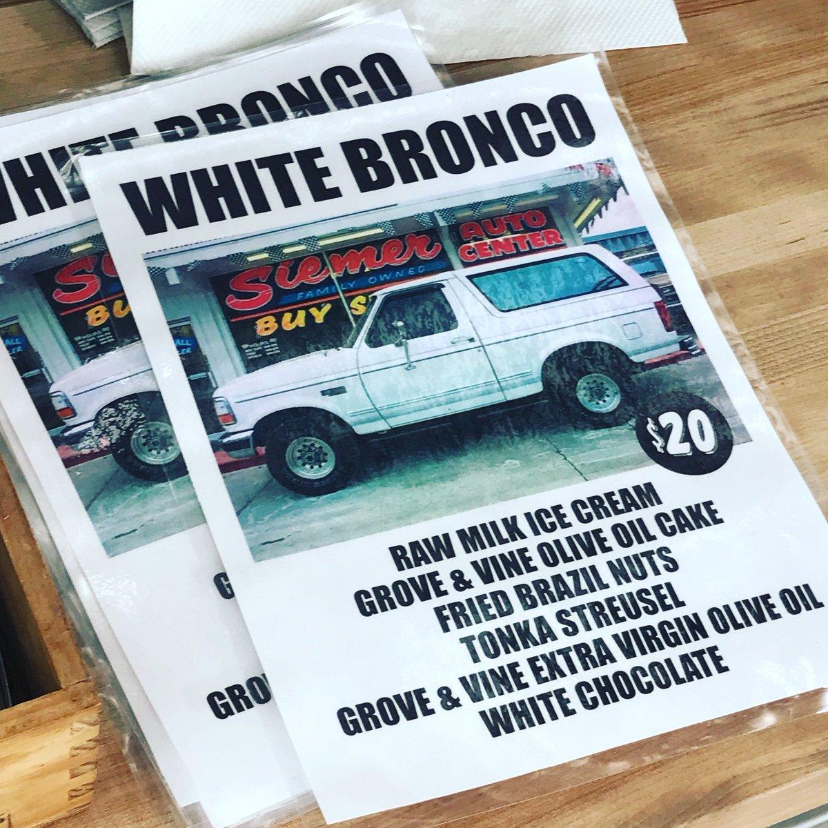 RT @oleologist: It's here...The White Bronco Ice Cream!!!  Only @MorgensternsNY via @ActionBronson  #groveandvine https://t.co/M6Eb0WzDGN