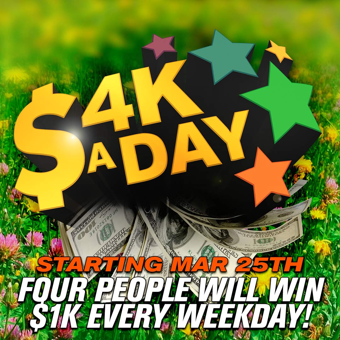SO CLOSE to your chance to win $1,000 FOUR times EVERY weekday!!! #4KaDay is back MONDAY, March 25th! https://t.co/ZSm1Gp8wyG
