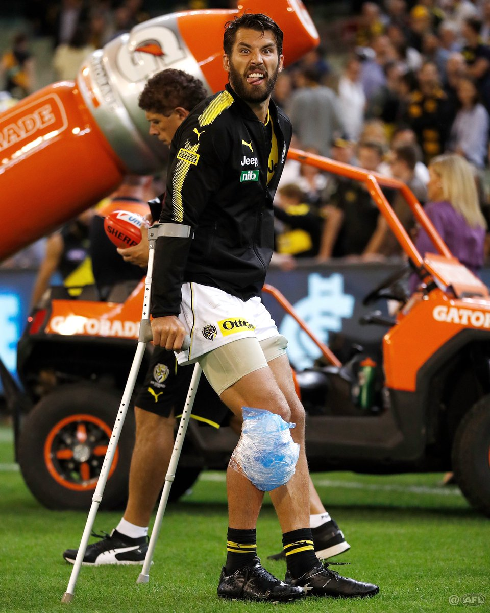 Hurt, but humour still intact. Dip the lid to Alex Rance #AFLBluesTigers