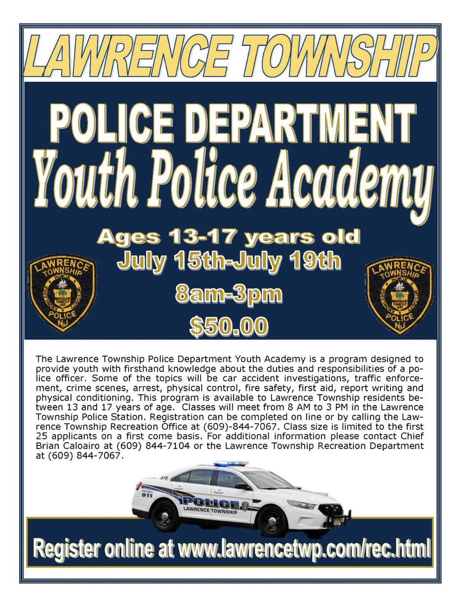 Excellent opportunity for the youth of Lawrence Township to learn the role of a police officer! https://t.co/Q9CTMBSVni