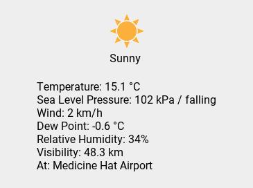 Thu 15:00: Sunny; Temp 15.1 C; Humidity 34%; Press 102 kPa / falling. https://t.co/IzEWGUzg2O