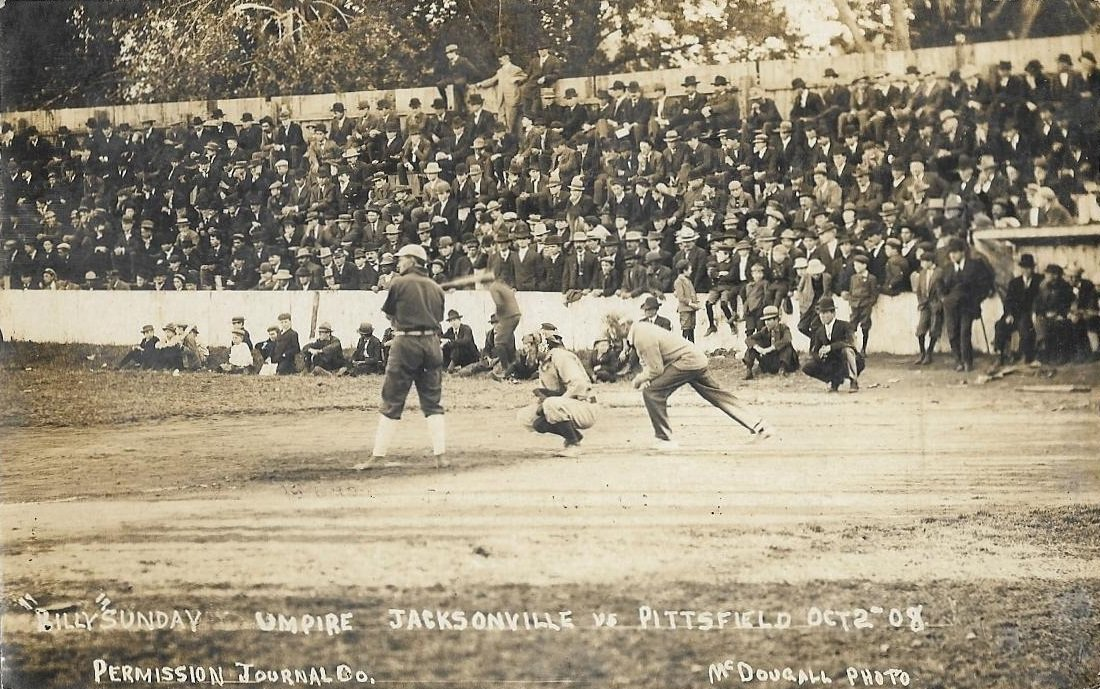 Jacksonville, Illinois, October 3, 1908 - Photo of a game between teams from two rival towns, Jacksonville and Pittsfield. The umpire in the photo is none other than the colorful Billy Sunday, who during the game would take a foul ball to his stomach knocking the wind out of him https://t.co/avy3H0otLT