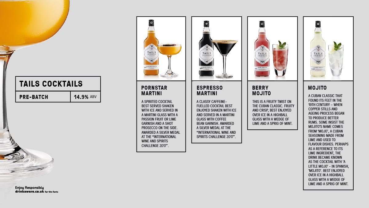 @Tailscocktails range of premixed cocktails make for stylish substitutes during busy bar times, whilst also providing flavour consistency and cost efficiency.  #spirit #cocktail Read more information here https://t.co/wQfoVuoxYo https://t.co/SwTYF1iVc5