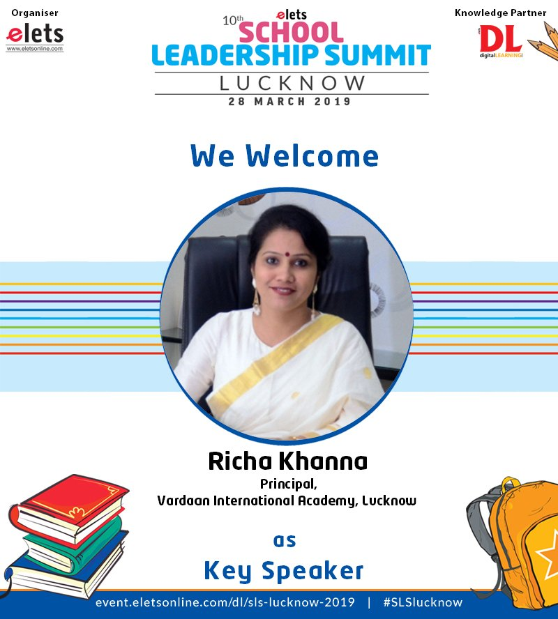 test Twitter Media - We are proud to announce that Richa Khanna,  Principal, Vardaan  International Academy, Lucknow is participating as a Key Speaker in 10th  School Leadership Summit Lucknow on 28 March.  #education #Schooleducation #SLSlucknow @ravigupta1000 @chandananand26 https://t.co/70M6GePY2B