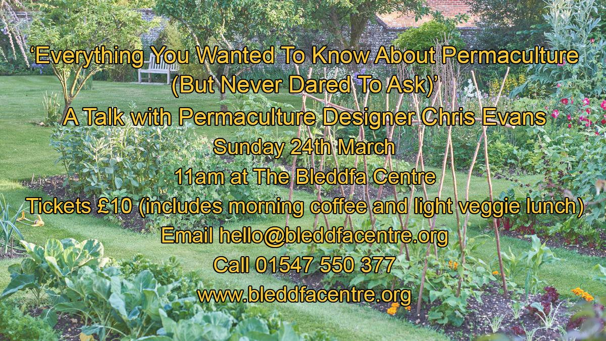 Image for Tomorrow morning at 11am here at Bleddfa! #permaculture #talk #design #agriculture #sustainable #food #MidWales #Powys https://t.co/jJxG71ages