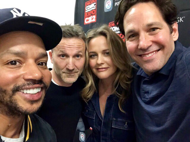 So much fun hanging out with these boys today #paulrudd @donald_faison and @breckinmeyer! Such a great day at #c2e2 https://t.co/fjXeIrGKad