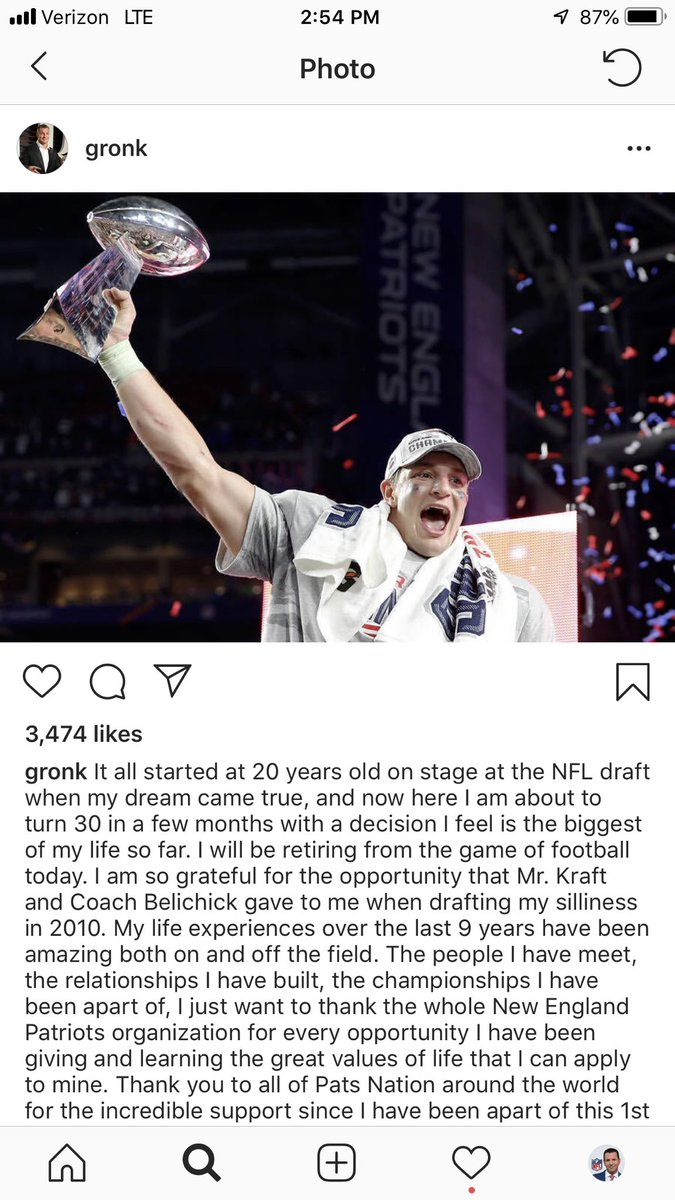 RT @RapSheet: #Patriots TE Rob Gronkowski announces his retirement. One of the best to ever do it. https://t.co/ml9Zv2PH5Z