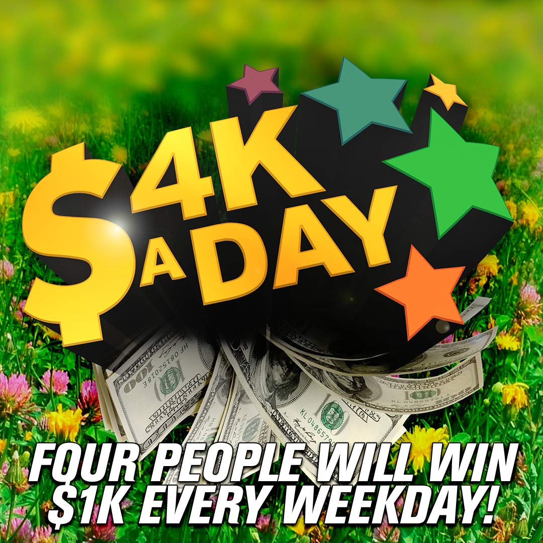 Your next chance to win $1,000 with #4KaDay is in about 10 minutes! Listen for the national keyword to text! https://t.co/euVAmB8Zls