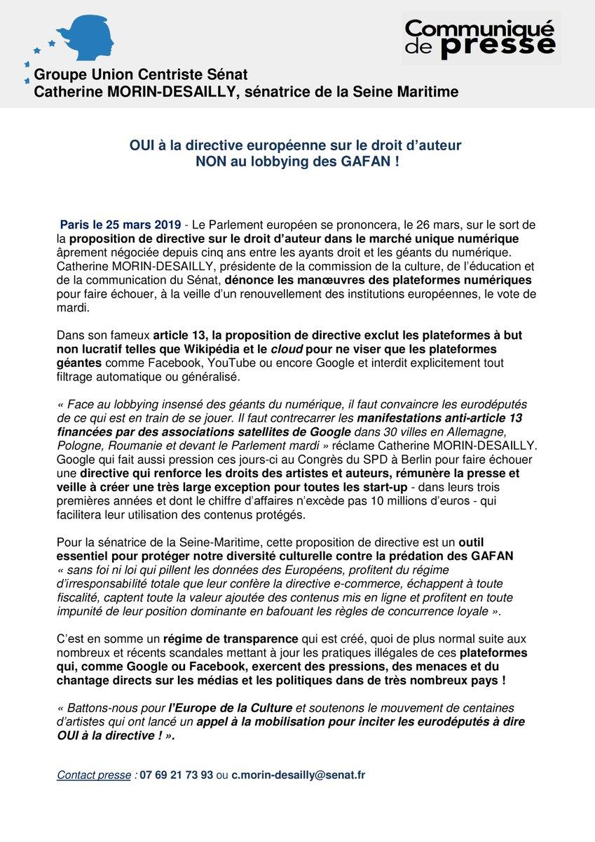 """#COMMUNIQUÉ de @C_MorinDesailly : """" Oui à la directive européenne sur le droit d'auteur NON au lobbying des GAFAN !"""""""